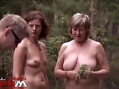 Nature nudists hiking naked outside